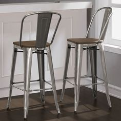 Tabouret Bistro Wood Seat Gunmetal Finish Bar Stools (Set of 2), Silver