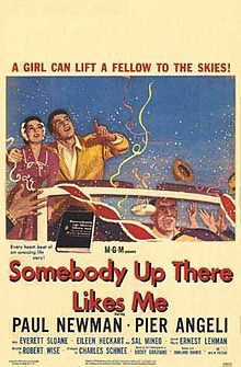 Somebody Up There Likes Me is a 1956 American drama film based on the life of middleweight boxing legend Rocky Graziano.[2][3] Joseph Ruttenberg was awarded a 1956 Oscar in the category of Best Cinematography (Black and White). The film also won the Oscar for Best Art Direction (Cedric Gibbons, Malcolm F. Brown, Edwin B. Willis, F. Keogh Gleason). Steve McQueen played Fidel but was not credited.