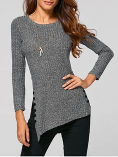 GET $50 NOW | Join RoseGal: Get YOUR $50 NOW!http://www.rosegal.com/sweaters/asymmetric-buttoned-knitwear-816813.html?seid=7334306rg816813