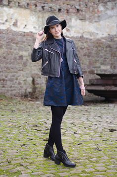 The Style Rawr | Oasis Jacquard Lace Skater Dress | Clarks boots