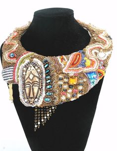 Ethnic beaded  statement  Necklace , Safari  hand embroidered necklace , Queen of Africa Collar ,  Tribal influence ,  Free shipping. $1,250.00, via Etsy.
