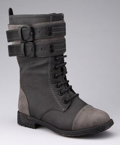 Take a look at this Black & Gray Nancy Combat Boot by Yokids on #zulily today!