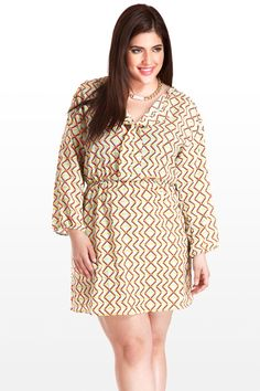 I DON'T KNOW IF I CAN PULL IT OFF, I'M TOO ROUND BUT IT'S ADORABLE!  LOVE THE PRINT!!!  Always In Style Geometric Print Dress