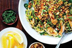 This zucchini pasta is from Well Fed Weeknights: Complete Paleo Meals in 45 Minutes Or Less by Melissa JoulwanThis recipe is an homage to the pasta recipes that show up on food magazine covers every spring. You know the ones: they feature a bowl of pasta flecked