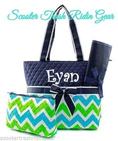 Diaper Bag Personalized Baby Tote Navy Aqua Lime Chevron Zigzag Monogram New