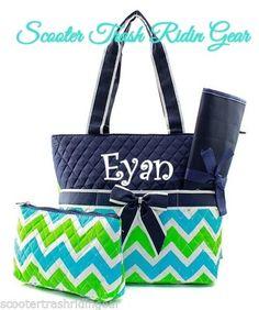 Diaper Bag Personalized Baby Tote Navy Aqua Lime Chevron Zigzag Monogram New