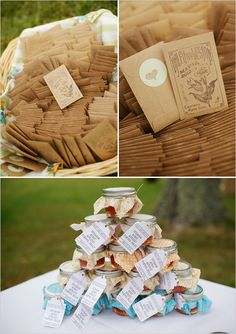 """rustic wedding favors... cute idea, environmentally friendly, inexpensive, not consumerist, and the favors are useful rather than """"stuff"""" that will just sit in someone's house until it's thrown out."""