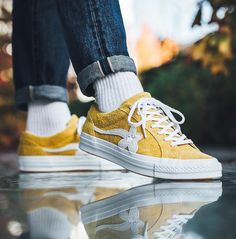"""School outfits · tyler, the creator x converse golf le fleur uno """"solar yellow"""" golf le Balenciaga, Converse One Star, Dream Shoes, Sock Shoes, Shoe Game, Adidas, Me Too Shoes, What To Wear, Footwear"""