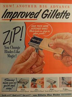 cool 1940s GILLETTE Blades Razor illustration vintage advertisement by Christian…...