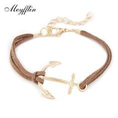 e6e21c3976 Anchor Bracelets for Women Men Jewelry Bijoux 2017 Fashion Rope 8 Leather Charm  Bracelets & Bangles Vintage Wrap Pulsera Mujer-in Charm Bracelets from ...