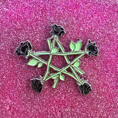 ♡This product is a enamel pin that is a pentagram, or star, made from roses. This color combo has black roses, bright green stems, and polished nickel metal. Art Haus, Jacket Pins, Pink Roses, Black Roses, Thing 1, Green Butterfly, Cool Pins, Textiles, Pin And Patches