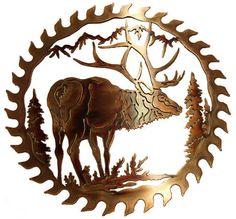 ELK METAL ART SAW BLADE WILDLIFE RUSTIC LODGE DECOR