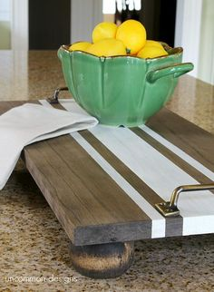 DIY Decorative Trays - Decorative Tray - Ideas of Decorative Tray - DIY Decorative Trays Tons of Ideas & Tutorials! Including this lovely diy ticking stripe wooden server tray from 'uncommon designs'. Diy Simple, Easy Diy, Bois Diy, Wooden Serving Trays, Serving Tray Decor, Serving Board, Diy Cutting Board, Deco Originale, Wood Tray