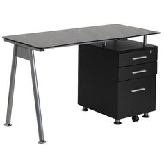 Flash Furniture Computer Desk with 3 Drawer Pedestal & Reviews | Wayfair