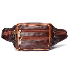 2b5726c893b7  US 20.77  Men Genuine Leather Crossbody Bag Leisure Outdoor Building  Travel Hiking Waist Bag