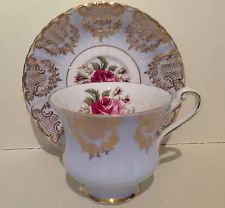 Paragon Gold Gilded Scrolls And Lattice Pale Blue Roses Tea Cup And Saucer