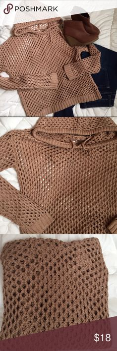 Hooded open weave sweater Hooded, open weave, crocheted sweater. Camel in color. In great condition. Unknown brand....no tag. Small. No snags or stains. Adorable with jeans and booties. 😉 Sweaters