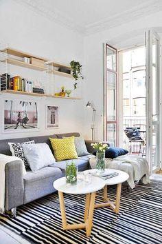Veja como decorar sala pequena em 45 fotos inspiradoras de ambientes lindos e possíveis. Confira! #decoraciondecocinaspequenas