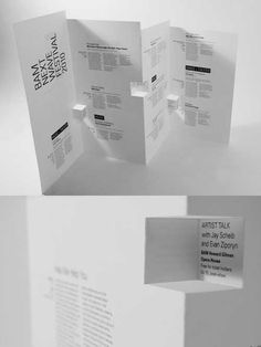 BAM Next Wave Festival Brochure by Ruth Tsang The brochure uses paper engineering techniques, giving the brochure with a sculptural quality. Source: http://bit.ly/ZNVpxr Visit our website: www.printandmail4u.com/ © NO COPYRIGHT INFRINGEMENT INTENDED. We don't own this image. All rights and credit go directly to its rightful owner. #businesscard #businesscarddesign #art