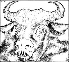 Minotaur (Erol Otus, AD&D module A3: Assault on the Aerie of the Slave Lords, TSR, 1981) #D&D#Dungeons & Dragons#Erol Otus#minotaur#greek mythology#Assault on the Aerie of the Slave Lords#monster#A series#dnd#Dungeons and Dragons#AD&D#TSR#mythology