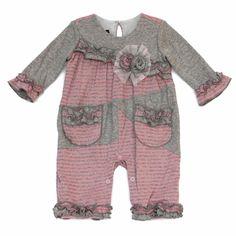 8ef1b240ada Isobella   Chloe Baby Girls Alyssa Rose Pink   Gray Striped Romper Romper  Pants