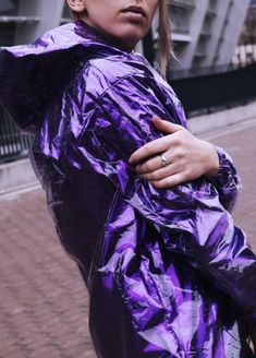 Shiny clear plastic raincoat, bright vinyl ultraviolet color with hood / hooded rain jacket for rave, festival, casual. Clear Raincoat, Pink Raincoat, Raincoat Jacket, Plastic Raincoat, Hooded Raincoat, Black Rain Jacket, North Face Rain Jacket, Rain Jacket Women, Magenta