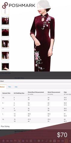Elegant Wine Red Velvet Cheongsam Dress NWT, Length 54', Pit to Pit 18', Wasit 16', Hips 19' Shanghai Story Dresses