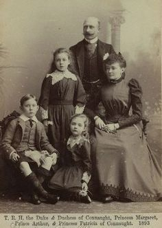 The Prince Arthur, Duke of Connaught and Strathearn with his wife, Louise & their children.