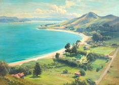 View Opononi and the Hokianga Harbour By Ernest Buckmaster; oil on canvas; Access more artwork lots and estimated & realized auction prices on MutualArt. Australian Artists, Oil On Canvas, Party Themes, Memories, Paris, Portrait, Artwork, Painting, Memoirs