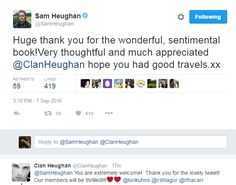 To Clan Heughan  9/7/2016 ekh