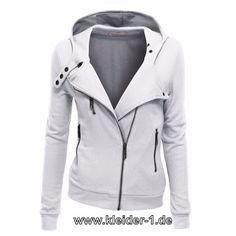 Damen Zipper Jacke in Weiß