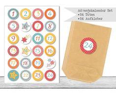 "www.papierbuedchen.de - DIY Adventskalender "" Tüten & Aufkleber "" (K45)"