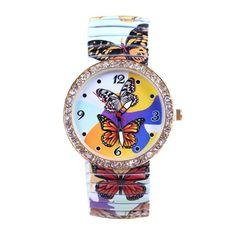 Sale 19% (4.99$) - Butterfly Printed Rhinestone Elastic Stainless Steel Watch