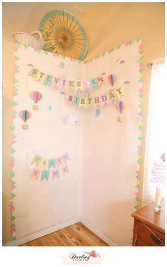 Instagram backdrop at a hot air balloon birthday party! See more party planning ideas at CatchMyParty.com!