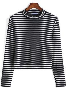 Long Sleeve Striped Black Sweater