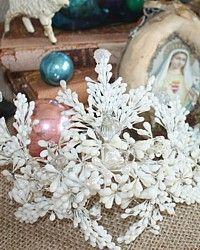Antique French Wax & Glass Floral Wedding Crown-flowers, crown,headpiece,1800's,bride,tiara,bridal