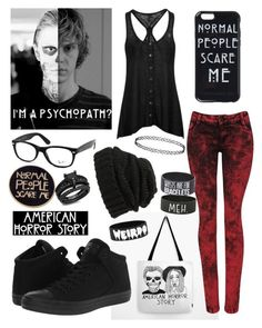"""Time For AHS"" by laineyroxs on Polyvore featuring Converse, Hot Topic, Ray-Ban, YES and Leith"