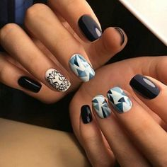 I'm excited with abstract geometric art patterns on medium nails!