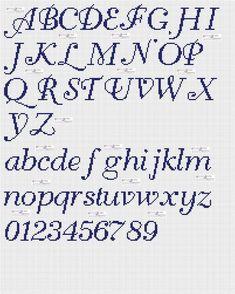 amorevitacrocette: punto croce alfabeti in corsivo