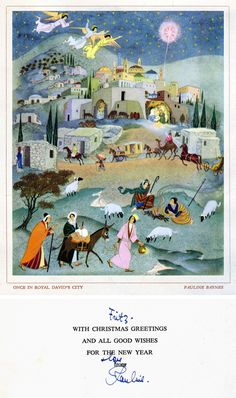 Pauline Baynes - Once in Royal David's City Christmas card - Artwork for World Religions