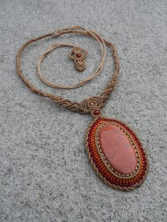 This spectacular sunshine piece incorporates a Mexican Orange Jasper gemstone with red Breciated Jasper and copper beads, carefully handcrafted knot by