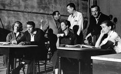 A rehearsal for Separate Tables: Rita Hayworth, Burt Lancaster, producer Harold Hecht, Wendy Hiller, director Delbert Mann, David Niven and Deborah Kerr