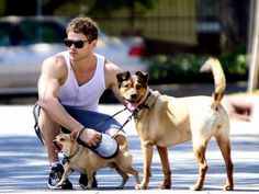 Looks like Kellan Lutz and his furry friends need a lady friend. Any takers? Ok no so I volunteer as tribute!