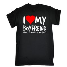 >> Click to Buy << I Love My Boyfriend Yes He Bought Me This T-SHIRT Girlfriend Birthday Gift Summer Short Sleeves Cotton T Shirt Simple Style #Affiliate
