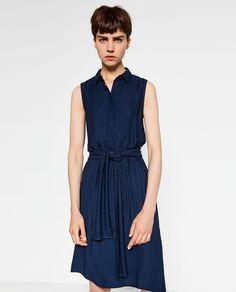リボン付きシャツドレス