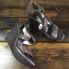 "Banana Republic Platform Sandals Here are in excellent used condition.  There are some slight signs of wear but they still look amazing. 5 1/2"" tall with a 1.5"" platform. Sz 10 Banana Republic Shoes Platforms"