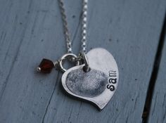 Fingerprint Jewelry--heart necklace--thumbprint--Rustic-as seen on kaboodle.com--special keepsake- mom necklace-grandmother | Meylah