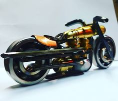 """346 Likes, 2 Comments - sibmetaldesigns@gmail.com (@sib_metal_designs_) on Instagram: """"Made with #100percent  #scrap #allenwrench  #scrapart #sculpture #motorcycle #allanwrench #copper…"""""""