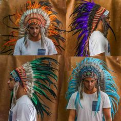 These original Beautifully Hand crafted Chief Indian Headdresses surely will have you standing out from the crowd. These vibrantly colored feather Indian headdresses are made utilising all real feathers as well as real leather and are certain to turn heads. These head pieces…