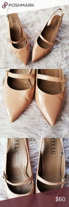 "Anyi Lu 'Gigi' Slingback Pumps Nude patent leather.  Made in Italy.  Pointy toe. 2"" gold block heels. Buckle fastened.  Signs of wear but, no major flaws. Womens US 7. Anyi Lu Shoes"